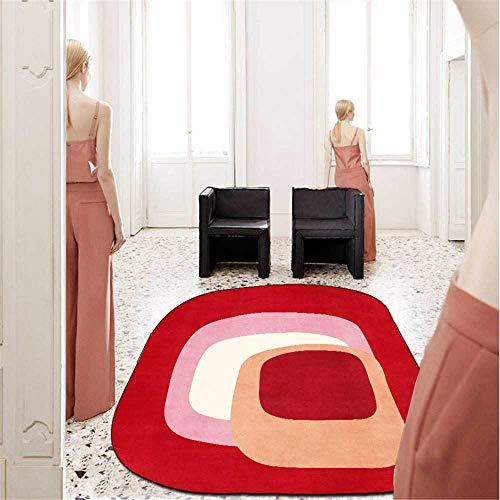 Alfombra moderna y elegante con temperamento único, color rojo, forma irregular, alfombra suave ovalada, para sala de estar, dormitorio, cocina, guardarropa, mesita de noche, sala de niños, alfombril