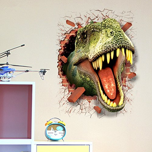 "U-Shark 3D Self-adhesive Removable Break Through the Wall Vinyl Wall Sticker/Mural Art Decals Decorator (3D Dinosaurs Opening Mouth(19.7"" X 27.6""))"