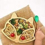 HoJoor Assiettes à Ventouse Assiette de Diner pour bébé, Plat d'alimentation à Ventouse, en Bambou Naturel et Silicone de qualité Alimentaire - Fox-(010)