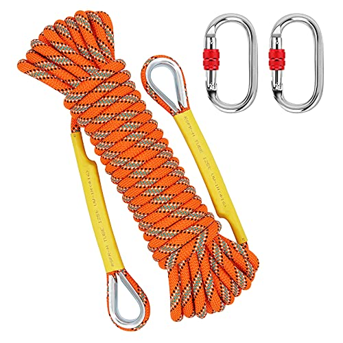 NTR Orange Outdoor Climbing Rope 10M(32ft), 8MM Diameter Rock Climbing Rope with 2 Steel Hooks, Climbing Rope for Outdoors, Escape Rope, Safety Rope, Hiking Rope
