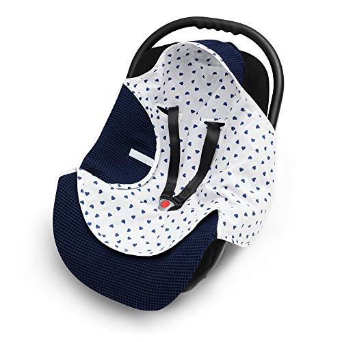 EliMeli Manta envolvente para portabebés, 100% algodón, ligera manta para el asiento del coche de tela de gofre y algodón para el verano y la primavera, universal, por ejemplo, Maxi Cos (azul marino)