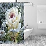 Duschvorhang Frozen Flower Duschvorhang für Bad Stoff Vorhang mit 12 HakenMulti Farbe 70 x 70 Zoll