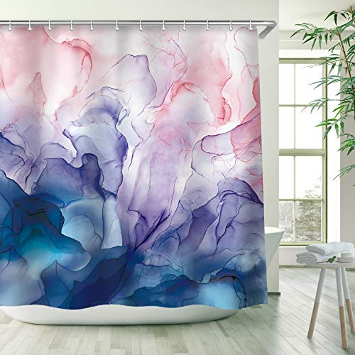 RosieLily Abstract Shower Curtain, Pastel Blush Shower Curtains Set with 12 Hooks, Waterproof Shower Curtain, Decor Watercolor Pink Blue Purple Ombre, 72x72