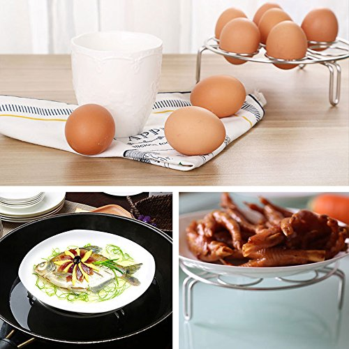 2PC 7 Egg Steamer Rack Holder For Cooking, Steamers Stock Basket Stand Pasta Pots, 304 Stainless Steel Pressure Cooker accessories, Kitchen Trivet, Instant Steam Food Eggs, Fish, Tamale, Crab, Veggies
