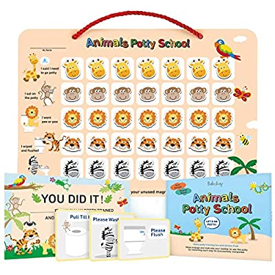 Potty Training Chart for Toddlers,Boys,Girls - Animal Design - Magnetic Sticker Chart, Waterproof Magnetic Potty Training Reward Chart, Certificate, 3 Instruction Steps, 35 Magnetic Stickers by Babebay