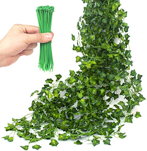 Artificial Ivy Garland 12 Pcs - 50 pcs Green Cable Tie - for Wedding Party Kitchen Garden Wall Decoration - Hanging Plants for Indoor Outdoor Use