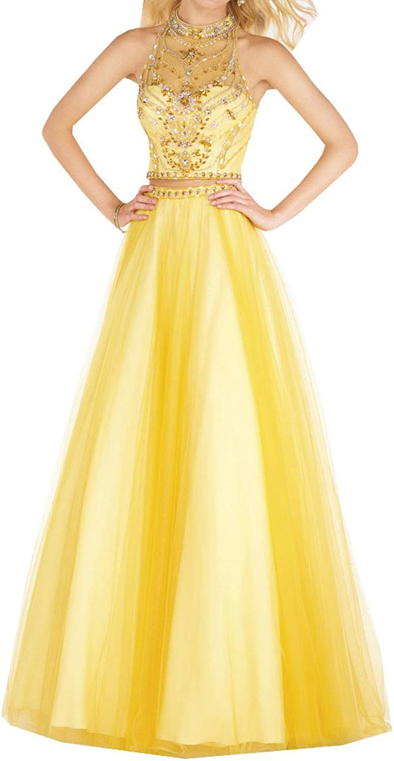 Lavaring Women's Two Piece Tulle Crystal High Neck Open Back Long Evening Gown