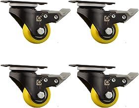 Casters wieltjes, stille en slijtvaste dragende wielen, met remmen, met diamantlagers, geel, 1,5 inch, 2 inch