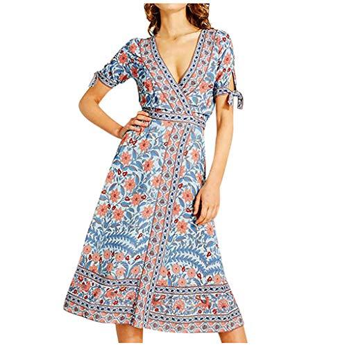 SatinGold Bohème Kleid, Damen Kurzarmkleid Geblümt Gedruckt Sexy V-Ausschnitt Langkleid Frauen Retro Wickelkleid Hoch Maxikleider