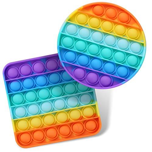 2 Packs Pop Fidget Sensory Toys, Autism Special Needs Stress Relief Silicone Pressure Relieving...