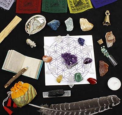 Dancing Bear Healing Crystals Meditation Altar Kit (35 Pc Set) + Instruction Guides, Rough & Tumbled Chakra Balance Stones & Grid, Abalone, Sage, Smudge Feather, Spirit Animal, Bell, Amethyst & More