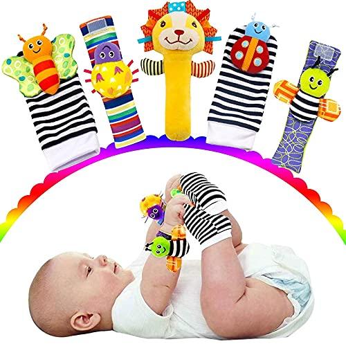 otutun Sonajero Calcetines y Muñequeras para Bebé, 5 Pcs Sonajeros de Muñeca Bebe Sonajero de Pies y Manos Juguetes Bebe Pies Manos Juguetes Desarroll para recién Nacidos de 0 a 12 Meses