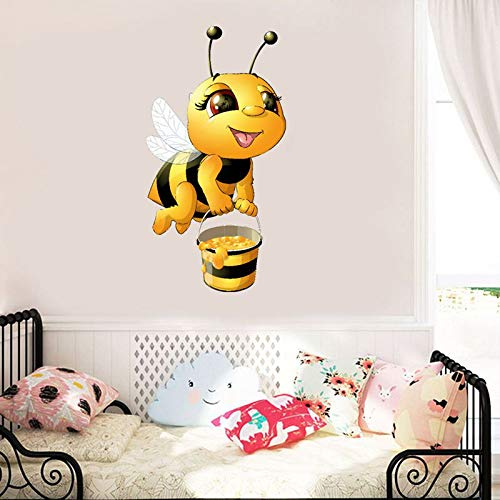 Muurtattoo 3D sticker wandsticker kinderkamer leuke kleine bijen, die honing kunst wand verzamelt