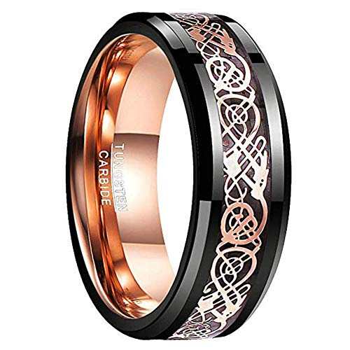 NUNCAD Black Polished Finish Tungsten Carbide Engagement Ring Celtic Tungsten Ring with Rose Gold Celtic Dragon Inlaid Comfort Fit Size 9.5