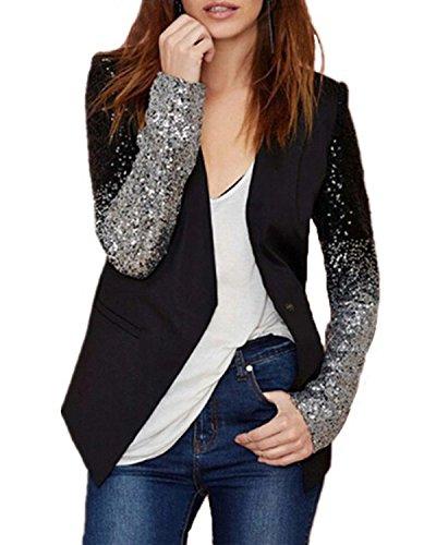 Auxo Damen Langarm Herbst Paillette Business Slim Outwear Blazer Cardigan Oberteil Tops Schwarz EU 46/Etikettgröße 3XL