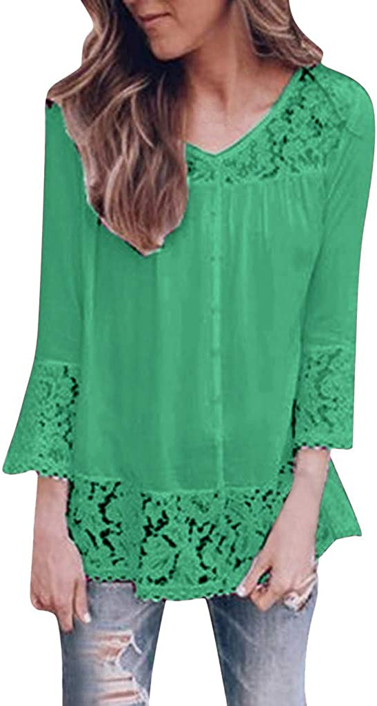 Bombing new work Max 50% OFF Sayhi Women Fashion Lace Print Hollow Solid O-Neck Ca Out Blouse