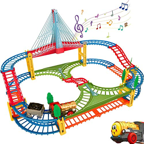 HOMCENT Juego de trenes y vehículos de ferrocarril, juego de rieles con...
