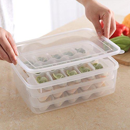 LSGDSXMIY Knödel Box Kühlschrank frisch Aufbewahrungsbox gefrorene Knödel frische Box Mikrowelle Auftauen Fach Knödel Tablett, Knödel-Box-Set