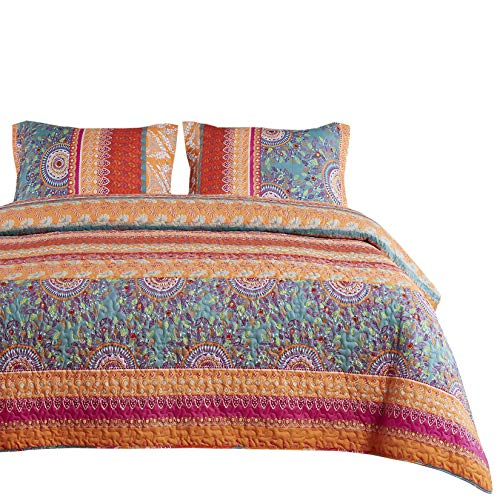 Wake In Cloud - Bohemian Quilt Set, Orange Coral and Green Boho Chic Mandala Pattern Printed, Soft Microfiber Bedspread Coverlet Bedding (3pcs, King Size)