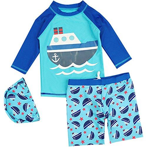 FAIRYRAIN Baby Kinder Jungen Zwei Stück Kurzarm Fish Segelboot Sonnenschutz Rash Guard Bademode Schwimmanzug 3-4 Jahre
