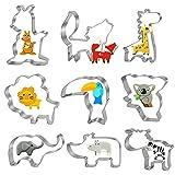 Bluelves Cortadores de Galletas Animale, 9 Piezas Animale Moldes Galletas, Juego de Cortador Galletas, Acero Inoxidable Molde para Galletas Fondant - León, Elefante, Zorro, Jirafa, Cebra