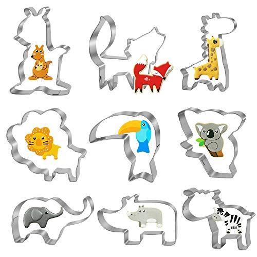 Bluelves Formine Biscotti di Animale, 9 Pezzi Formine per Biscotti Animale, Set di Taglierina Biscotto per Bambini, Stampi Biscotti Animale, Leone, Volpe, Elefante, Giraffa - Acciaio Inossidabile