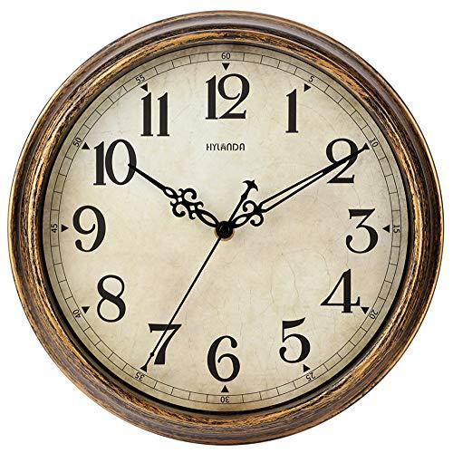 HYLANDA Reloj de pared – Reloj de pared vintage de 12 pulgadas funciona con pilas – Retro silencioso sin garrapatas – Decorativo sala de estar, cocina, escuela, oficina