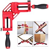 SEDY 90 Degree Right Angle Clamp/Corner Clamp, Aluminum Alloy Right Angle Clamping Tool with Adjustable Swing Jaw Great for Woodworking, Photo Frame, Drilling, Doweling, Quick and Precise - Red