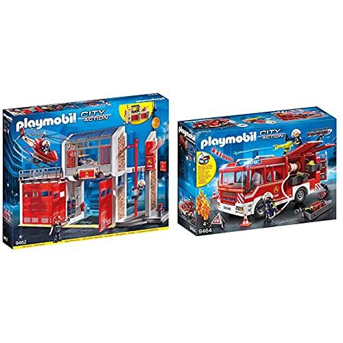 Playmobil City Action 9462 Giocattolo Grande Centrale Dei Vigili Del Fuoco, Dai 4 Anni & City Action 9464 Giocattolo Autopompa Dei Vigili Del Fuoco, Dai 4 Anni