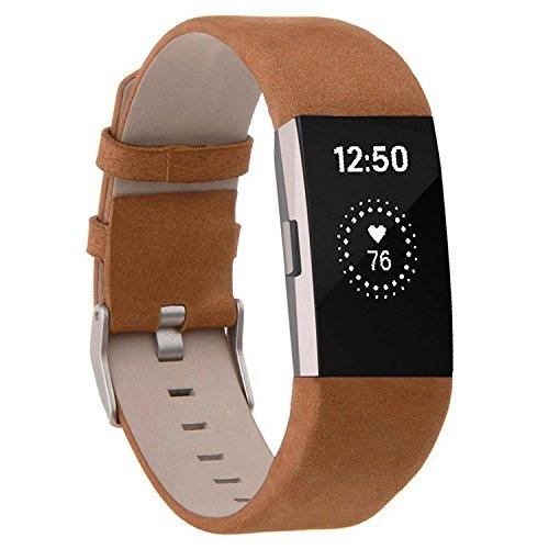 Techwills Echtes Lederarmband für Fitbit Charge 2, Herren Damen Armbänder Ersatzbänder (Matt braun)