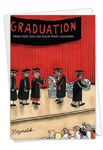 Do Your Laundry - Hilarious Graduation Note Card with Envelope (4.63 x 6.75 Inch) - Laundry Loads, Funny Cartoon Graduate Greeting Card - Hilarious Congrats Card for College Graduation 3942