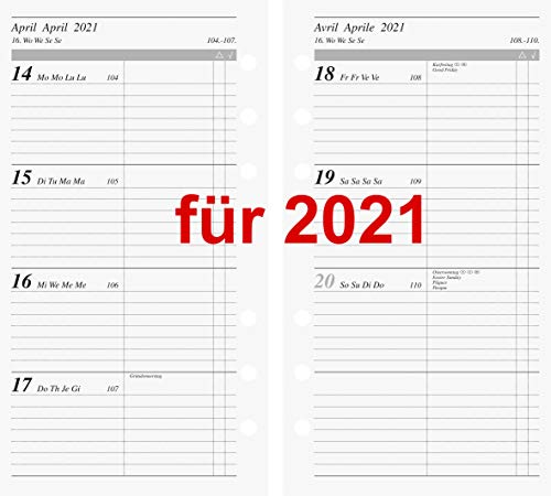 rido/idé 7069916001 Wochenkalendarium/Zeitplansysteme 2021, 2 Seiten = 1 Woche, Blattgröße 9,3 x 17,2 cm