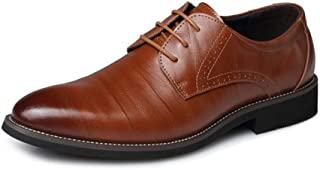 Pointed Lace Up Retro Oxford Shoes Formal Shoes (Color : Yellow, Size : 46)
