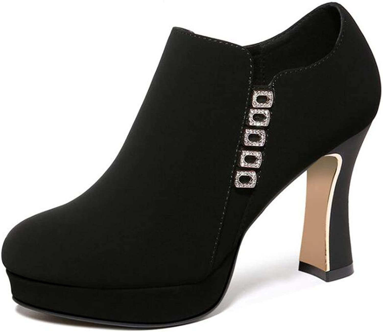 Booties Autumn and Winter Women's Fashion Stiletto Waterproof Platform Ladies Boots,Black,35