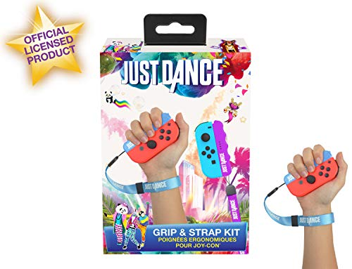 Just Dance 2019 / 2020 - Grip and Strap pack - Ergonomic comfort handles with straps for Nintendo Switch JoyCon controller - Blue and purple