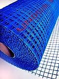 Malla de fibra de vidrio para mortero 90gr/m² color azul (1 rollo de malla revoco de 50 mts. lineales x ancho 1 metro, total; 50/m²)