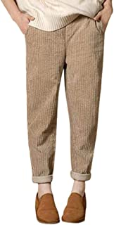JOFOW Womens Pencil Pants Corduroy Solid Casual Long Loose Elastic Band Mid Waisted XL Harem Warm Trousers Autumn Winter