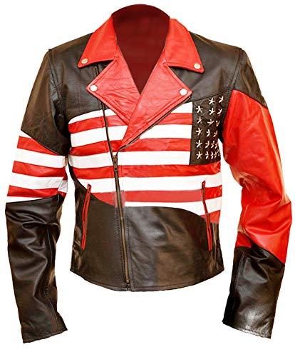 Leather-Spot Amerikanische USA-Flaggen-Motorrad-Art-Lederjacke-5xl