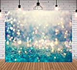 Blue Bokeh Photography Backdrop for Baby Shower Newborn Wedding Video Photo Background Spots Sparkle Birthday Party Decoration Cake Table Banner Photo Booth Studio Props 5x3ft