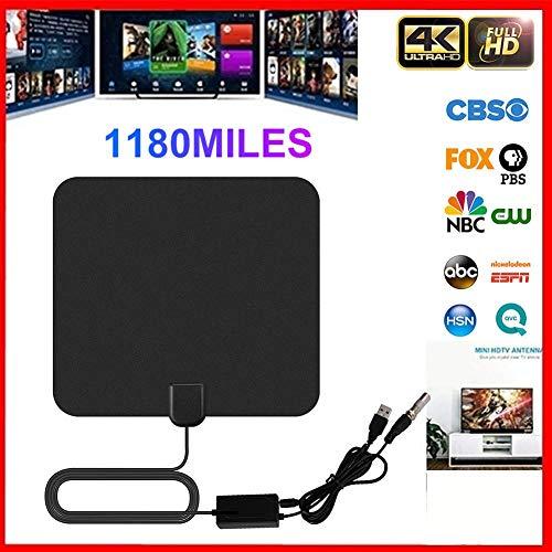 Antena de TV, HD TV Digital amplificada Antena de TV para Interiores 1180 Millas Acceso de Largo Alcance TDT - Compatible con Canales 4K 1080P HD con Amplificador Desmontable Amplificador de señal
