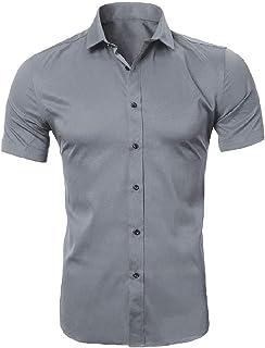 qianqianq Mens Button Down Big & Tall Basic Style Non-Iron Summer Flannel Shirt