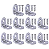 Bronagrand 10pcs 90 Degree Right Angle Brackets Fastener Stainless Steel Corner Braces with Screws (20x20mm)