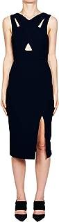 Womens Bonded Crepe Crossover Dress Black 8