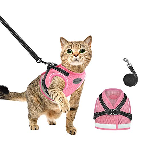 AVCCAVA Cat Harness and Leash for Walking, Kitten Escape Proof Harnesses, Adjustable Reflective Puppy Vest Harness with Leashes Set, Easy Adjustable Soft net Breathable Pet Safety Jacket(XS, Pink)