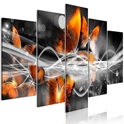 murando - Cuadro en Lienzo Abstracto 200x100 cm Impresión de 5 Piezas Material Tejido no Tejido Impresión Artística Imagen Gráfica Decoracion de Pared Mariposas Negro Naranja a-A-0339-b-p