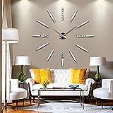 DIY Reloj de Pared 3D, GEEDIAR Bricolaje 3D Grande espejo Reloj pared adhesivo con Números, plata