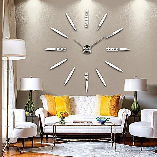 GEEDIAR DIY 3D Große Wanduhr Modelle Dekoration Spiegel Aufkleber Wandsticker Große Uhr Geschenk Empfehlen (Silber)