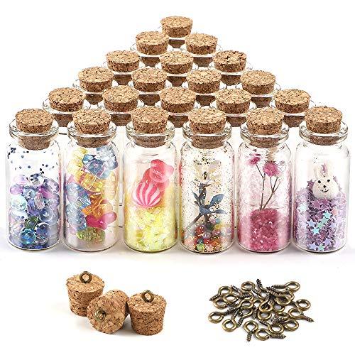 CDWERD 24 Stück 10ml Mini Glasflaschen mit Korken kleine Glasflaschen, mit 24 Augenschrauben, für die Aufbewahrung von Gewürzen, Sand usw