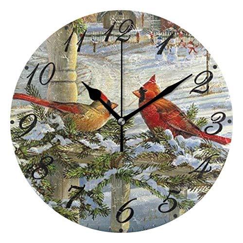 Jacque Dusk Reloj de Pared Moderno,Cardenal Bird Snow Navidad,Grandes Decorativos Silencioso Reloj de Cuarzo de Redondo No-Ticking para Sala de Estar,25cm diámetro