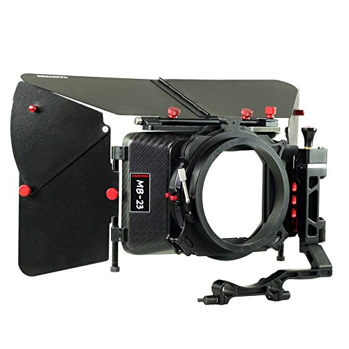CAMTREE Carbon Fiber Professional Wide Angle Matte Box with Swing Away for 15mm Rod Support for Video DSLR Moving Making Camera Lenses up to 105mm + Hard Case (C-MB-23-CF)